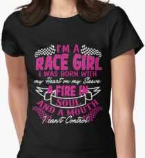 I'm a race girl I was born with my heart on my Sleeve T-Shirt