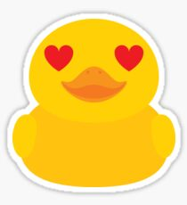 Emoji Rubber Duck with Love and Heart Eyes Sticker