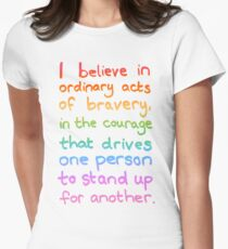 Ordinary Acts of Bravery - Divergent Quote  Women's Fitted T-Shirt