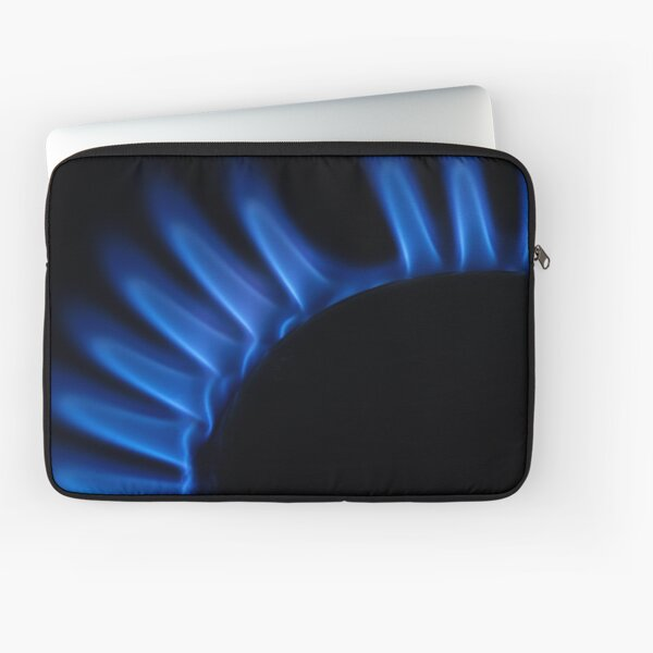 Lit blue gas ring, close-up Laptop Sleeve