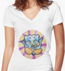 ganesh enjoys shakes Women's Fitted V-Neck T-Shirt