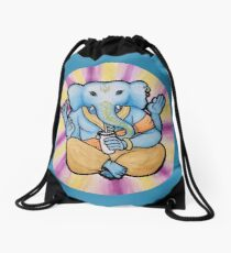 ganesh enjoys shakes Drawstring Bag