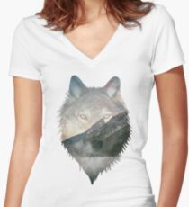 Wolf Mountain Women's Fitted V-Neck T-Shirt