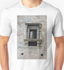 Classical window with ornaments on a stone wall T-Shirt