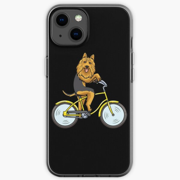 Australian Terrier Dog With Bike  iPhone Soft Case