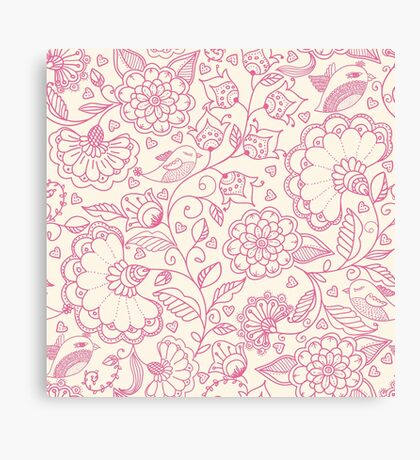 Pink Floral Design Canvas Print