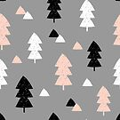 Winter Forest in Pink, Black, White and Gray by Iveta Angelova