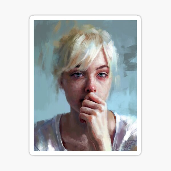 crying portrait ~ painting ~ prints Sticker