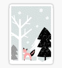Winter Forest Scene Sticker