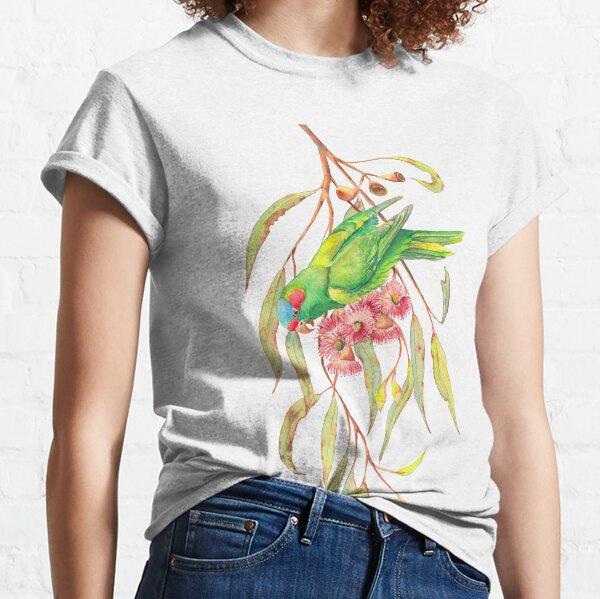 Musk Lorikeet and eucalyptus branch watercolour painting Classic T-Shirt
