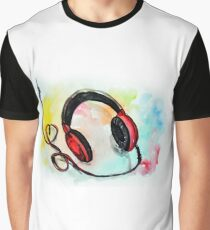 Watercolor of headphones. Music love Graphic T-Shirt