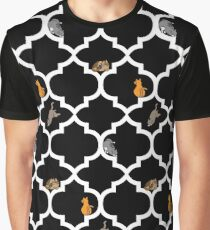 Cats On A Lattice - Black Graphic T-Shirt