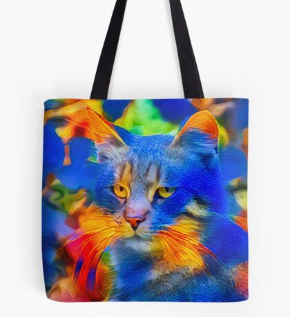 Artificial neural style flower wild cat Tote Bag