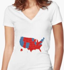Donald Trump 45th Us President Usa Map Election 2016 Women S Fitted V Neck T