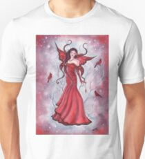Scarlette fairy fantasy art with cardinals by Renee Lavoie Unisex T-Shirt
