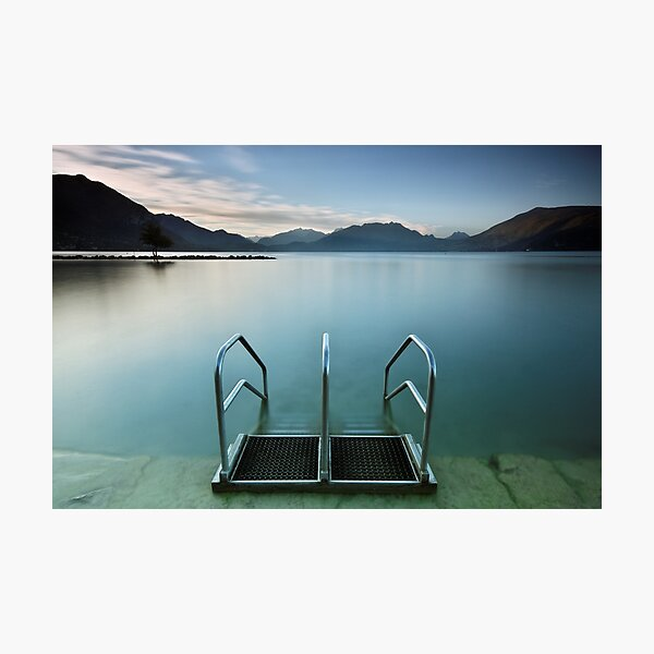 Annecy lake, morning at the beach Photographic Print