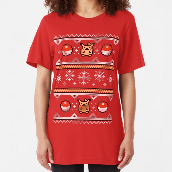 8-bit Christmas Sweater Slim Fit T-Shirt