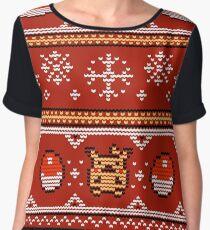 8-bit Christmas Sweater Chiffon Top