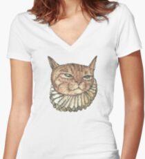 Banjo Cat Face Women's Fitted V-Neck T-Shirt