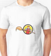 Artist Painter Holding Paintbrush Circle Cartoon Unisex T-Shirt