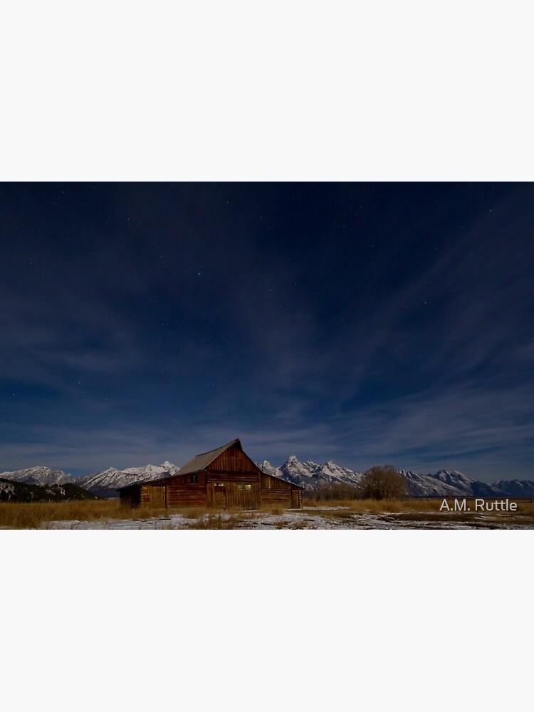 Full Moon Light and Stars Over Mormon Row Barn by annruttle