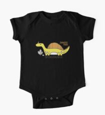Dinosaurs, Jurassic Park. Adorable seamless pattern with funny dinosaurs in cartoon One Piece - Short Sleeve