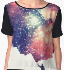 Painting the universe (Colorful Negative Space Art) Women's Chiffon Top