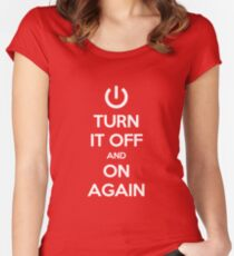 Keep Calm - Turn It Off and On Again Women's Fitted Scoop T-Shirt