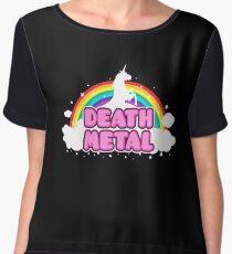 DEATH METAL! (Funny Unicorn / Rainbow Mosh Parody Design) Women's Chiffon Top