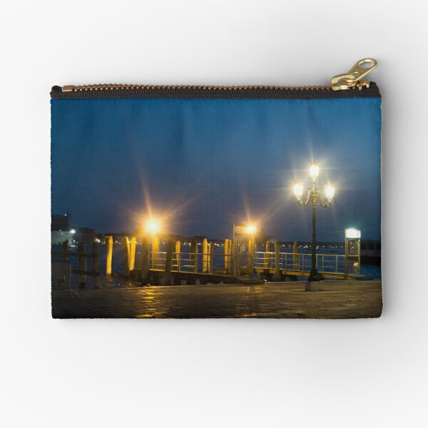Venice by the water at night (photography) Zipper Pouch