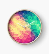 Abstract Polygon Multi Color Cubism Low Poly Triangle Design Clock