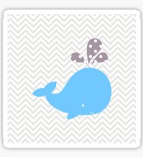 Light Blue Whale With Chevron Sticker
