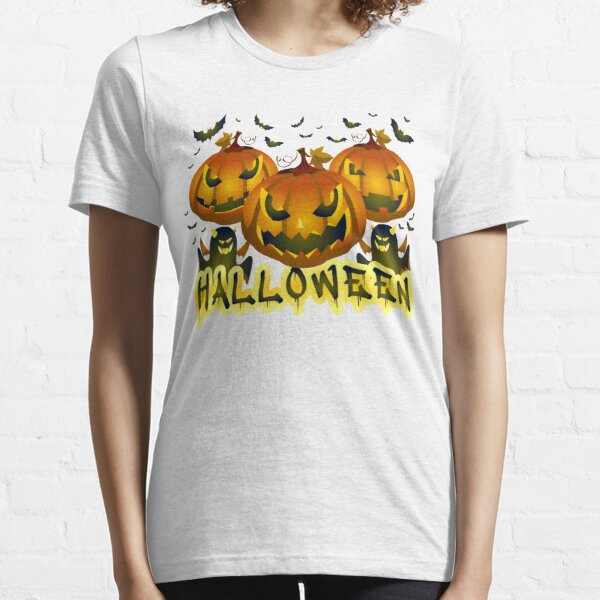 Scary Funny Halloween Pumpkin with Bat and Ghost Standard Essential T-Shirt