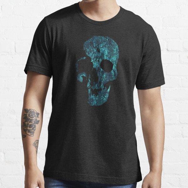 SKELETON SKULL BLUE GRUNGE // Skull // Halloween // Ink Tattoo Style Design Essential T-Shirt