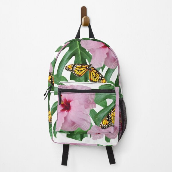 Pink Floral and Monarch Butterflies Backpack