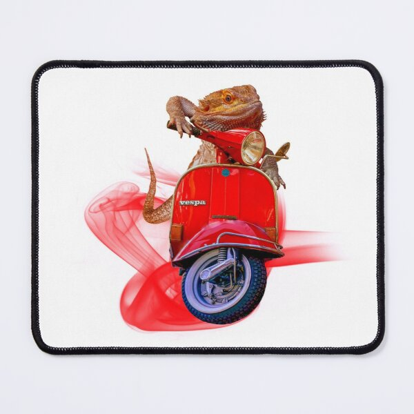Born To Be Wild - Bearded Dragon On A Red Vespa Mouse Pad