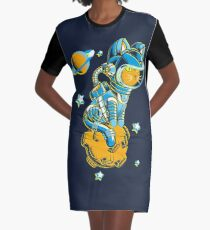 Space Cat Graphic T-Shirt Dress