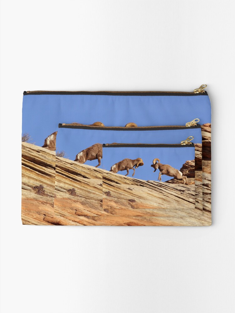 Alternate view of Bighorns Battling in Red Rock Country Zipper Pouch