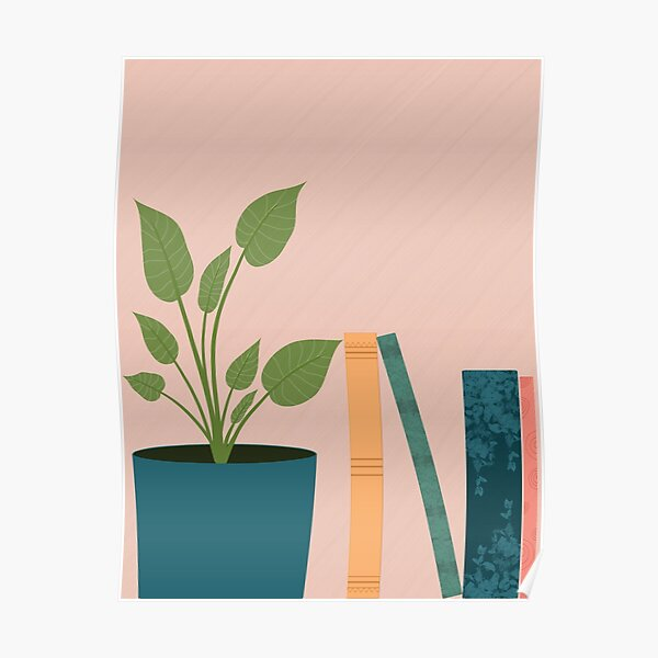 Books and House Plant Poster