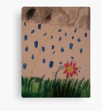daisy in the rain oil pastel Canvas Print