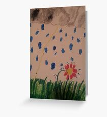 daisy in the rain oil pastel Greeting Card