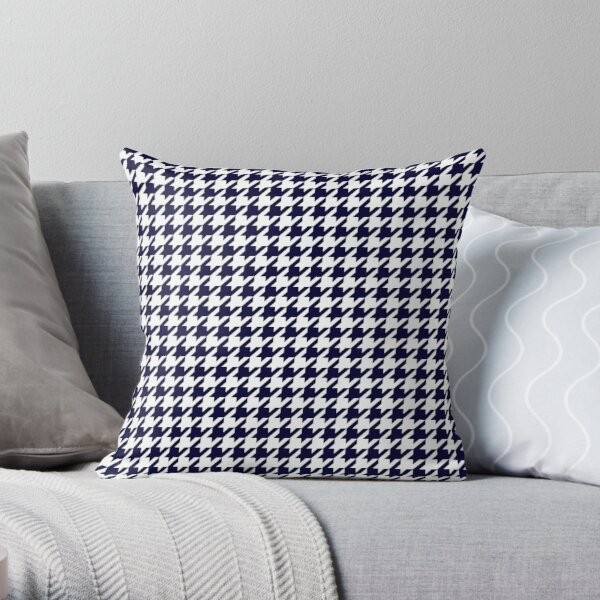 Navy Blue And White Houndstooth  Throw Pillow