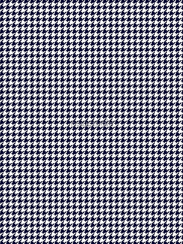 Navy Blue And White Houndstooth  by rewstudio