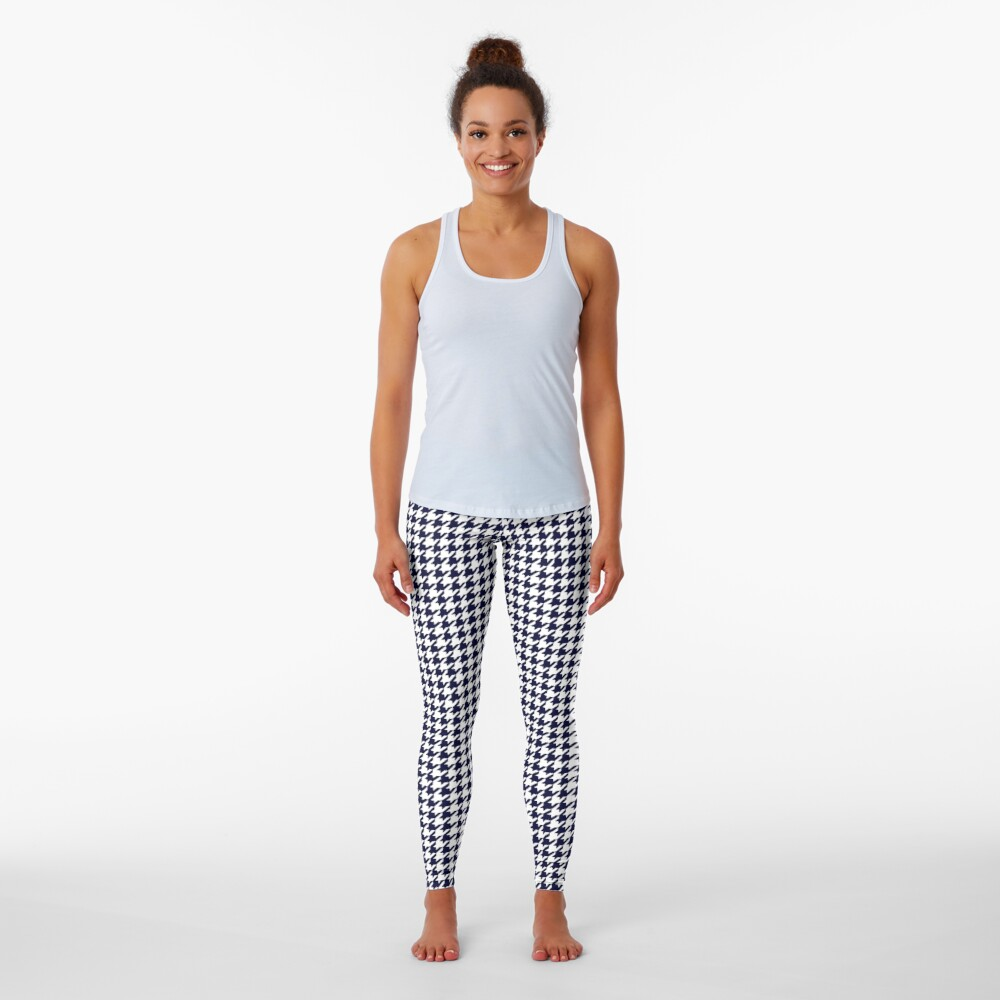 Navy Blue And White Houndstooth  Leggings
