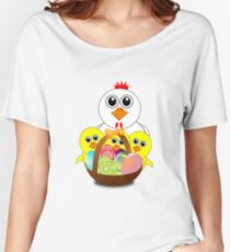 Funny Chicken and Chicks Cartoon Easter Women's Relaxed Fit T-Shirt