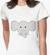 Funny Elephant Face Cartoon Women's Fitted T-Shirt