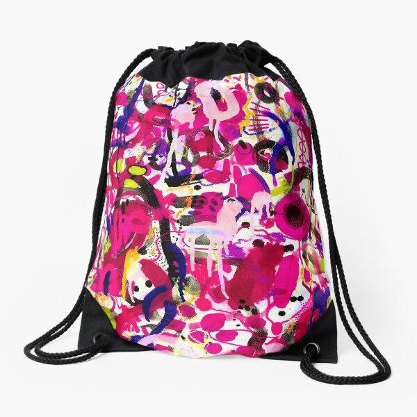 pink graffiti Drawstring Bag