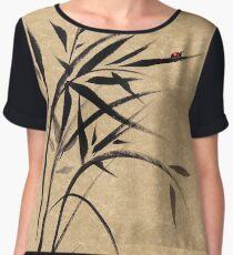 """Serene""  Sumi-e ladybug & bamboo ink brush painting Women's Chiffon Top"