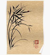 """""""Serene""""  Sumi-e ladybug & bamboo ink brush painting Poster"""