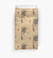 """""""Serene""""  Sumi-e ladybug & bamboo ink brush painting Duvet Cover"""
